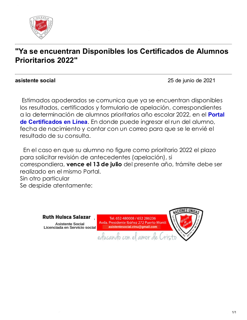Certificados de Alumnos Prioritarios 2022